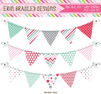 Clipart - Bunting Banner Flags Blue Red Pink Gray