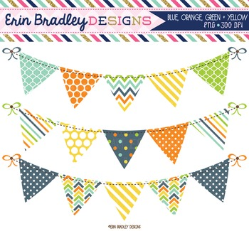 Clipart Bunting Banner Flags Digital Graphics Blue Green Y