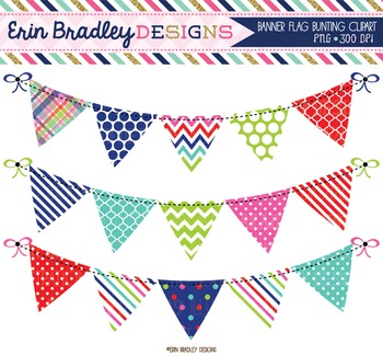 Clipart - Bunting Banner Flags Digital Graphics in Red Blue Green and Pink
