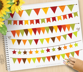 Clipart - Bunting Banners Autumn / Fall  / Thanksgiving