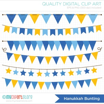Clipart - Bunting Banners Hanukkah /Christmas / Holidays