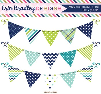 Clipart Bunting - Blue Green and Teal