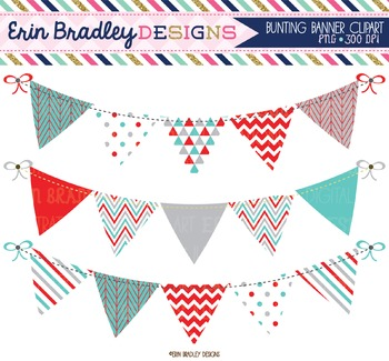 Clipart Bunting - Blue Red & Gray