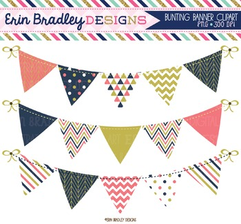 Clipart Bunting - Coral Navy Blue & Gold