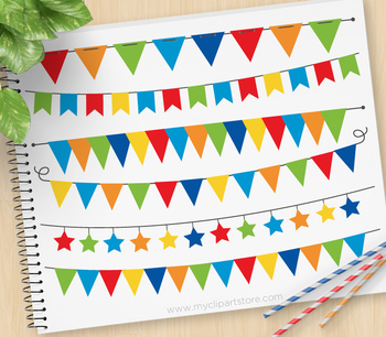 Clipart - Bunting Flags / Bunting Banners (Primary Colors)