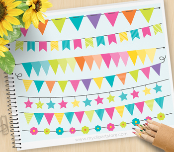 Clipart - Bunting Flags / Bunting Banners (Rainbow Colors)