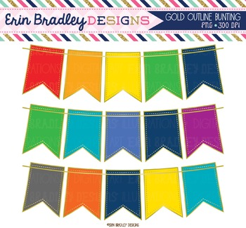 Clipart Bunting - Gold Outline