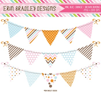Clipart - Bunting Graphics Pink Blue Orange Brown