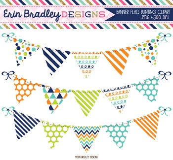 Clipart Bunting Navy Blue Orange & Green