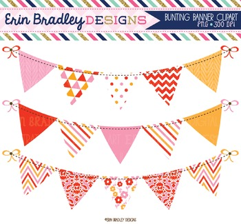 Clipart Bunting - Pink Red & Orange
