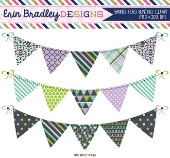 Clipart Bunting - Purple Blue Green and Charcoal