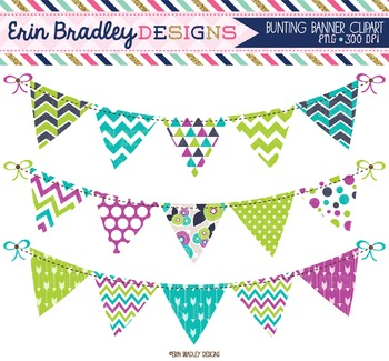 Clipart Bunting - Purple Green & Blue