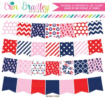 Clipart Bunting - Red Pink Navy Blue