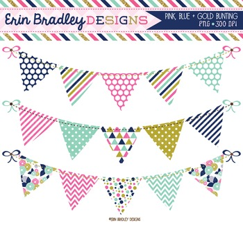 Clipart - Bunting in Pink Gold & Blue