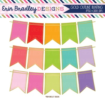 Clipart - Bunting with Gold Outline