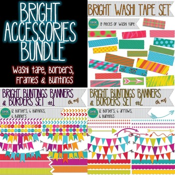 Clipart- Buntings Banners Borders Arrows- Brights Bundle