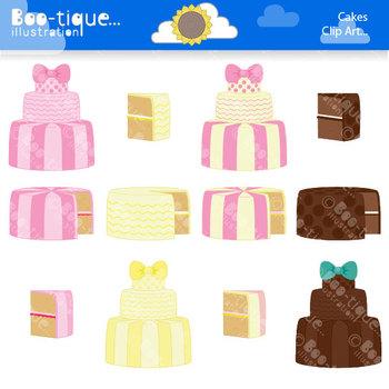 Clipart: Cakes Digital Clip Art Set. Chocolate Cake Clipar