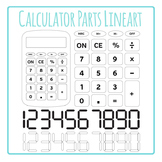 Calculator and Calculator Keys and Numbers - Black and White Lineart