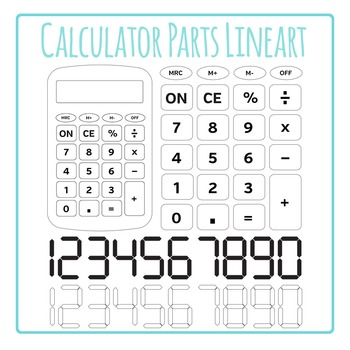 Calculator and Calculator Keys and Numbers - Black and Whi