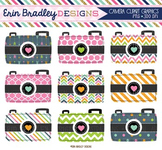 Clipart - Camera Digital Photography Graphics in Pink Blue Green and Orange