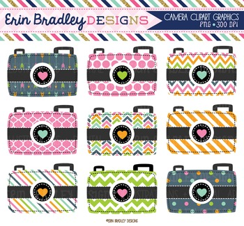 Clipart - Camera Digital Photography Graphics in Pink Blue