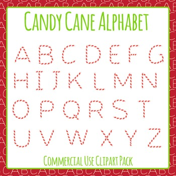 Christmas Candy Cane Alphabet Clip Art Set for Commercial Use