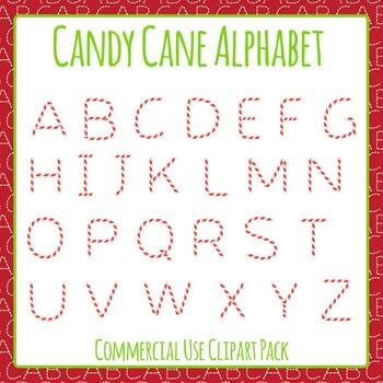 Christmas Candy Cane Alphabet Clip Art Set for Commercial Use