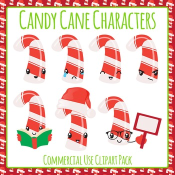 Christmas Candy Cane Characters Emotions Clip Art Pack for