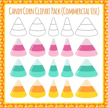 Candy Corn Clip Art Pack - Various Shape and Color - For Commercial Use