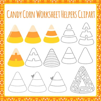 Candy Corn Worksheet Helper Clip Art Pack for Commercial Use