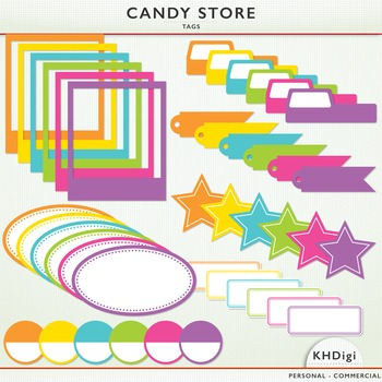Clipart - Candy Store Tags, Frames,