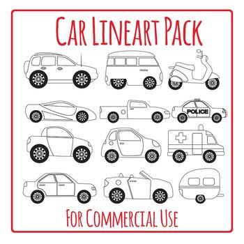 Car Lineart Black Line Outline Clip Art Pack for Commercial Use