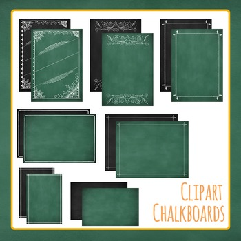 Blackboard or Chalkboard Backgrounds, Borders and Ornament