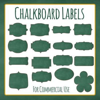 Labels - Chalkboard or Blackboard Clip Art Pack for Commer