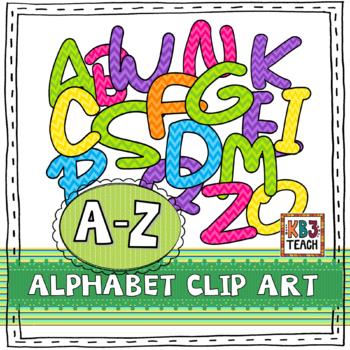 Alphabet Letters Clipart: Chevron Multi-Colored Set (Uppercase A-Z)