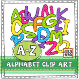 Alphabet Letters Clipart: Chevron Multi-Colored Set (Upper