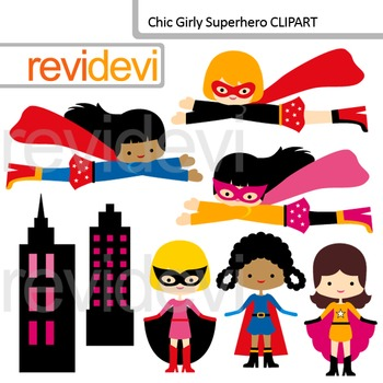 Clipart Chic Girly Superhero (flying and standing superheroes)
