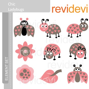 Clipart Chic Ladybugs E026 (clip art for teachers)
