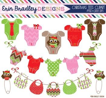 Clipart - Christmas Baby Tees Bib Bunting & Owl Pins