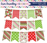 Clipart Christmas Banners Digital Holiday Bunting Graphics in Red Green & Brown
