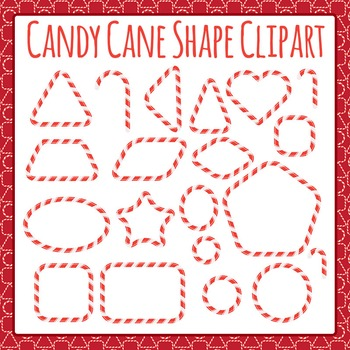 Christmas Candy Cane Shapes or Frames Clip Art Pack for Commercial Use
