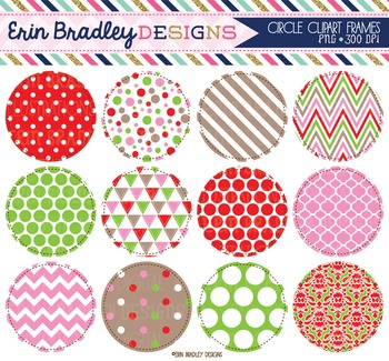 Clipart - Christmas Circles Digital Frame Graphics Pink Red and Green