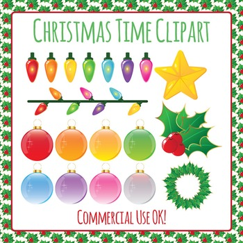 Christmas Decorations Commercial Use Clip Art Pack