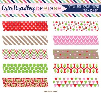 Clipart - Christmas Digital Tape Frame Text Graphics Pink Red and Green
