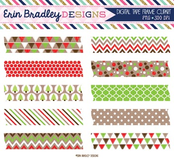 Clipart - Christmas Digital Tape Frame Text Graphics Red Green Brown
