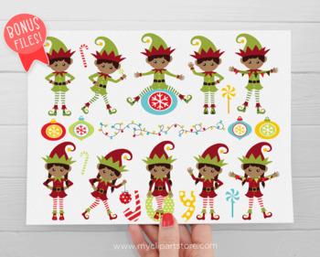 Clipart - Christmas elves / Elf sitting on a Shelf