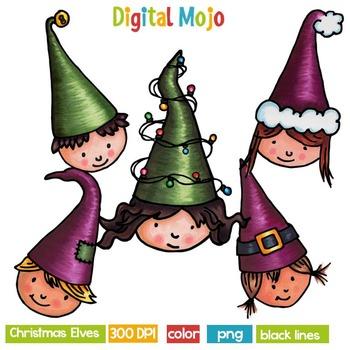 Clipart - Christmas Elves