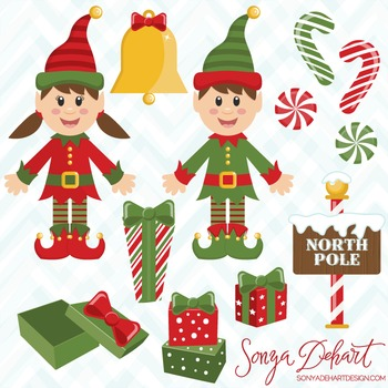 Clipart - Christmas Elves and Presents