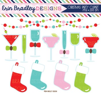Clipart - Christmas Holiday Party Graphics with Beverages Stockings and Bunting
