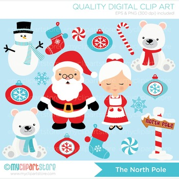 Clipart - Christmas / North Pole / Santa and Mrs Clause